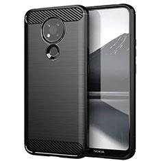 Silikon Hülle Handyhülle Gummi Schutzhülle Flexible Tasche Line für Nokia 3.4 Schwarz