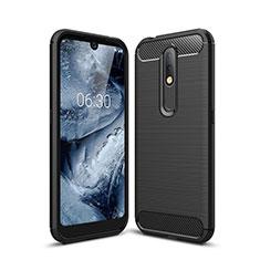 Silikon Hülle Handyhülle Gummi Schutzhülle Flexible Tasche Line für Nokia 4.2 Schwarz