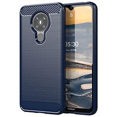 Silikon Hülle Handyhülle Gummi Schutzhülle Flexible Tasche Line für Nokia 5.3 Blau