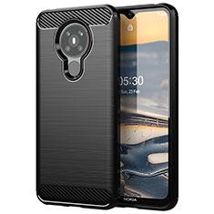 Silikon Hülle Handyhülle Gummi Schutzhülle Flexible Tasche Line für Nokia 5.3 Schwarz