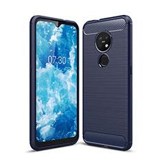 Silikon Hülle Handyhülle Gummi Schutzhülle Flexible Tasche Line für Nokia 7.2 Blau
