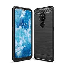 Silikon Hülle Handyhülle Gummi Schutzhülle Flexible Tasche Line für Nokia 7.2 Schwarz