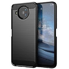 Silikon Hülle Handyhülle Gummi Schutzhülle Flexible Tasche Line für Nokia 8.3 5G Schwarz