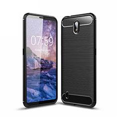 Silikon Hülle Handyhülle Gummi Schutzhülle Flexible Tasche Line für Nokia C1 Schwarz