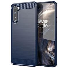Silikon Hülle Handyhülle Gummi Schutzhülle Flexible Tasche Line für OnePlus Nord Blau