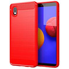 Silikon Hülle Handyhülle Gummi Schutzhülle Flexible Tasche Line für Samsung Galaxy A01 Core Rot