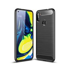 Silikon Hülle Handyhülle Gummi Schutzhülle Flexible Tasche Line für Samsung Galaxy A11 Schwarz