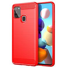 Silikon Hülle Handyhülle Gummi Schutzhülle Flexible Tasche Line für Samsung Galaxy A21s Rot