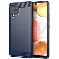 Silikon Hülle Handyhülle Gummi Schutzhülle Flexible Tasche Line für Samsung Galaxy A42 5G Blau