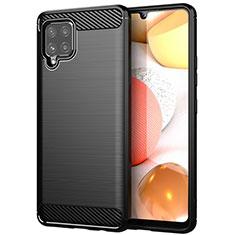 Silikon Hülle Handyhülle Gummi Schutzhülle Flexible Tasche Line für Samsung Galaxy A42 5G Schwarz