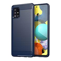 Silikon Hülle Handyhülle Gummi Schutzhülle Flexible Tasche Line für Samsung Galaxy A51 4G Blau