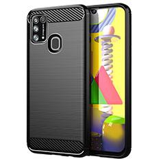 Silikon Hülle Handyhülle Gummi Schutzhülle Flexible Tasche Line für Samsung Galaxy M31 Schwarz