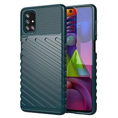 Silikon Hülle Handyhülle Gummi Schutzhülle Flexible Tasche Line für Samsung Galaxy M51 Grün