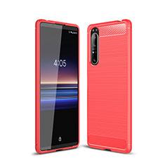 Silikon Hülle Handyhülle Gummi Schutzhülle Flexible Tasche Line für Sony Xperia 1 II Rot