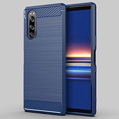 Silikon Hülle Handyhülle Gummi Schutzhülle Flexible Tasche Line für Sony Xperia 5 Blau