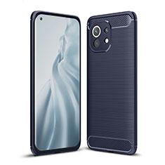 Silikon Hülle Handyhülle Gummi Schutzhülle Flexible Tasche Line für Xiaomi Mi 11 5G Blau
