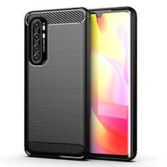 Silikon Hülle Handyhülle Gummi Schutzhülle Flexible Tasche Line für Xiaomi Mi Note 10 Lite Schwarz
