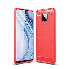 Silikon Hülle Handyhülle Gummi Schutzhülle Flexible Tasche Line für Xiaomi Poco M2 Pro Rot
