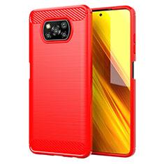Silikon Hülle Handyhülle Gummi Schutzhülle Flexible Tasche Line für Xiaomi Poco X3 NFC Rot