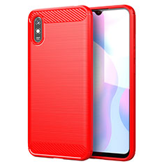 Silikon Hülle Handyhülle Gummi Schutzhülle Flexible Tasche Line für Xiaomi Redmi 9A Rot