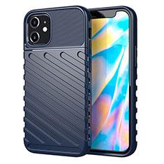 Silikon Hülle Handyhülle Gummi Schutzhülle Flexible Tasche Line S01 für Apple iPhone 12 Blau
