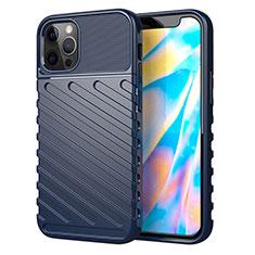 Silikon Hülle Handyhülle Gummi Schutzhülle Flexible Tasche Line S01 für Apple iPhone 12 Pro Blau