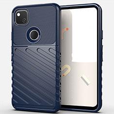 Silikon Hülle Handyhülle Gummi Schutzhülle Flexible Tasche Line S01 für Google Pixel 4a Blau