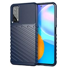 Silikon Hülle Handyhülle Gummi Schutzhülle Flexible Tasche Line S01 für Huawei Y7a Blau