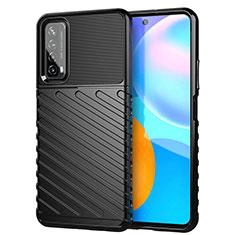 Silikon Hülle Handyhülle Gummi Schutzhülle Flexible Tasche Line S01 für Huawei Y7a Schwarz