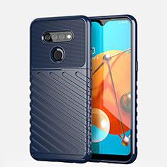Silikon Hülle Handyhülle Gummi Schutzhülle Flexible Tasche Line S01 für LG K51 Blau