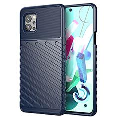 Silikon Hülle Handyhülle Gummi Schutzhülle Flexible Tasche Line S01 für LG Q92 5G Blau