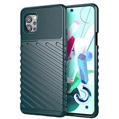 Silikon Hülle Handyhülle Gummi Schutzhülle Flexible Tasche Line S01 für LG Q92 5G Grün