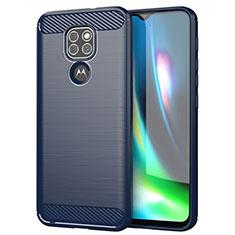 Silikon Hülle Handyhülle Gummi Schutzhülle Flexible Tasche Line S01 für Motorola Moto G9 Play Blau
