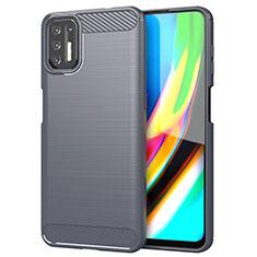 Silikon Hülle Handyhülle Gummi Schutzhülle Flexible Tasche Line S01 für Motorola Moto G9 Plus Grau