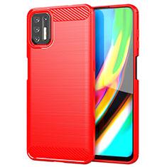 Silikon Hülle Handyhülle Gummi Schutzhülle Flexible Tasche Line S01 für Motorola Moto G9 Plus Rot