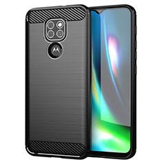 Silikon Hülle Handyhülle Gummi Schutzhülle Flexible Tasche Line S01 für Motorola Moto G9 Schwarz