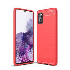 Silikon Hülle Handyhülle Gummi Schutzhülle Flexible Tasche Line S01 für Samsung Galaxy A41 Rot