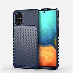 Silikon Hülle Handyhülle Gummi Schutzhülle Flexible Tasche Line S01 für Samsung Galaxy A71 5G Blau
