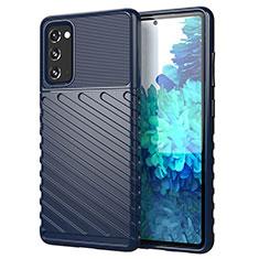 Silikon Hülle Handyhülle Gummi Schutzhülle Flexible Tasche Line S01 für Samsung Galaxy S20 FE 5G Blau
