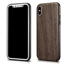 Silikon Hülle Handyhülle Gummi Schutzhülle Holzmaserung Muster für Apple iPhone Xs Max Grau