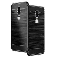 Silikon Hülle Handyhülle Gummi Schutzhülle Köper für OnePlus 6 Schwarz