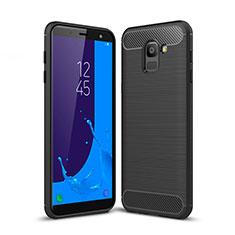 Silikon Hülle Handyhülle Gummi Schutzhülle Köper für Samsung Galaxy J6 (2018) J600F Schwarz