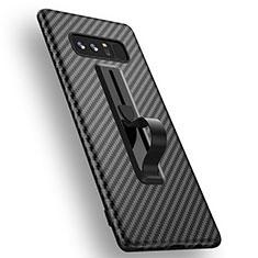 Silikon Hülle Handyhülle Gummi Schutzhülle Köper mit Fingerring für Samsung Galaxy Note 8 Duos N950F Schwarz