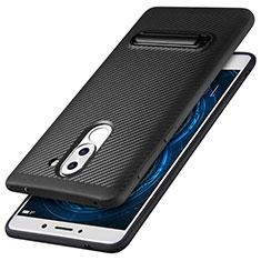 Silikon Hülle Handyhülle Gummi Schutzhülle Köper mit Ständer für Huawei Honor 6X Schwarz