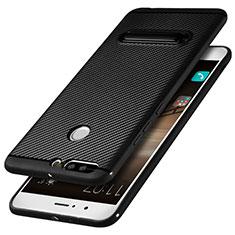 Silikon Hülle Handyhülle Gummi Schutzhülle Köper mit Ständer für Huawei Honor 8 Pro Schwarz