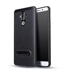Silikon Hülle Handyhülle Gummi Schutzhülle Köper mit Ständer für Huawei Mate 9 Schwarz