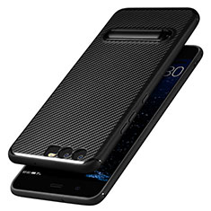 Silikon Hülle Handyhülle Gummi Schutzhülle Köper mit Ständer für Huawei P10 Schwarz