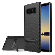 Silikon Hülle Handyhülle Gummi Schutzhülle Köper mit Ständer für Samsung Galaxy Note 8 Schwarz