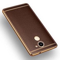 Silikon Hülle Handyhülle Gummi Schutzhülle Leder für Huawei Enjoy 7 Plus Braun