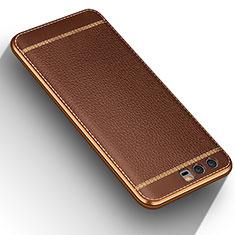 Silikon Hülle Handyhülle Gummi Schutzhülle Leder für Huawei Honor 9 Braun